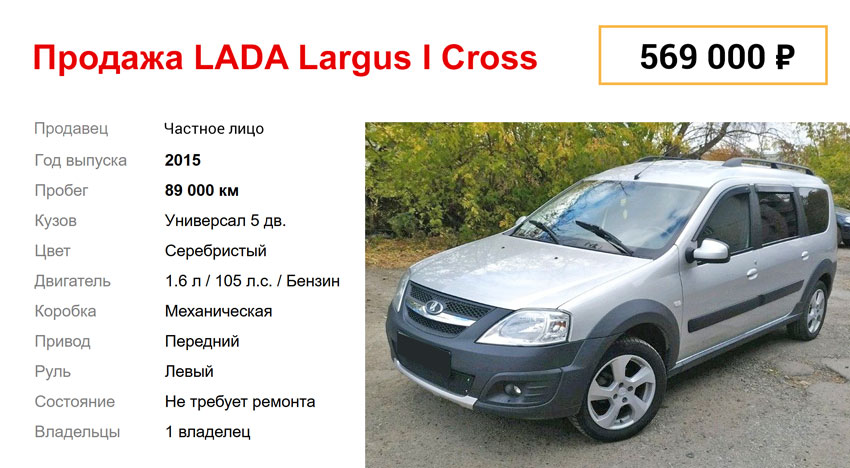kartochka cena lada largus cross 2015 - Ттх лада ларгус кросс