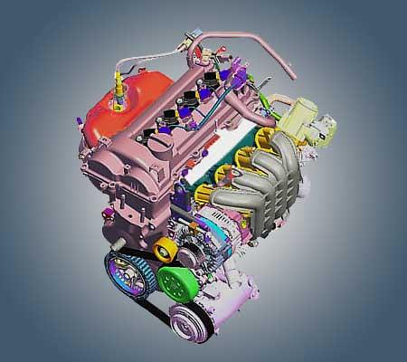 Двигатель G4LC схема.