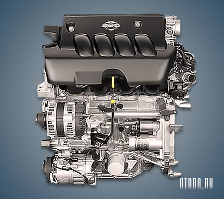 Мотор Nissan MR20DE вид спереди.