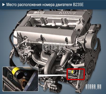 Место расположение номера 2.3-литровый бензинового двигателя Saab B235E