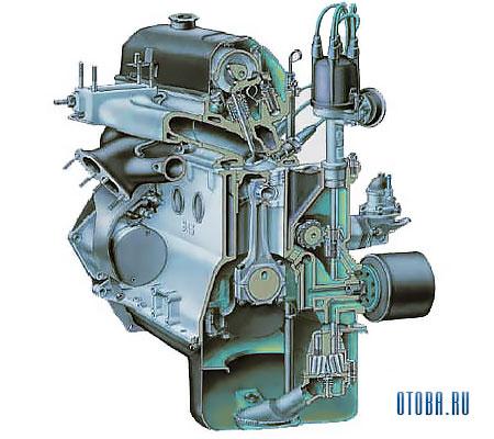 Мотор Рено VAZ 2121 в разрезе.